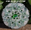 "MBA #5616B-181 ""Green & Pearl White Glass Bead Brooch"""