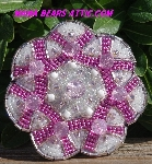 "MBA #5616B-213  ""Pink & White Glass Bead Brooch"""
