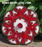 "MBA #5616B-228  ""Red & White Glass Bead Brooch"""
