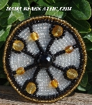 "MBA #5616B-244 ""Black. Gold & Clear Luster Glass Bead Brooch"""