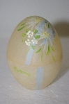**MBA #11-234  Pale Yellow Frosted Glass Hand Painted Egg Dish