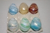 Set Of 6 Hand Made Glass Marbled Eggs