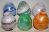 """SOLD **Set Of 6 Multi Colored Hand Made Marbled Glass Eggs"