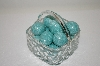 **Glass Basket & 12 Hand Carved &  Painted Wooden Eggs