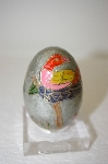 **MBA #11-252  Rare Metal  Hand Carved & Painted Bird Egg