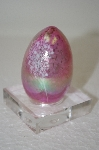 +MBA #11-122  1985 Hand Made Pink Glass Art Egg