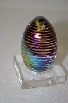 **Artist Signed & Dated 1985 Multi Colored Spiral Art Glass Egg
