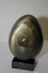 """SOLD""  MBA #11-085  ""Jumbo Black Obsidian With Double Silver Sheen Hand Cut & Polished Egg"
