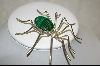 **Artist Signed Large Malachite Sterling Spider Pin