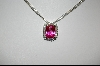**Charles Winston Cushion Cut Created Pink Sapphire & Clear CZ Pendant With Matching Ring