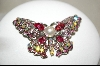 **Pink Sawrovski Crystal Butterfly Pin
