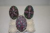 Set Of 3 Glass Mosiac Eggs