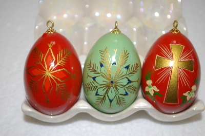 +MBA #12-017  Set Of 3 Beautifull Hand Painted Wooden Egg Ornaments