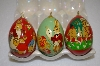 **Set Of 3 Beautifull Hand Painted Wooden Egg Ornaments
