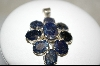 **  9 Stone Blue Sapphire Sterling Pendant