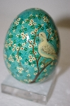 +MBA #12-171  1980's Blue Floral Dove Wooden Decoupage Egg