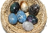 Set Of 7 Hand Cut & Polished  Mini Gemstone Eggs