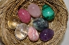 Set Of 8 Tiny Hand Cut & Polished Gemstone Eggs