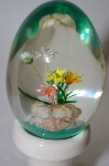**Beautiful Clear Acrylic Egg With Flowers & Shells