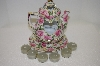 """SOLD""  Porcelain 3 Piece Rose Tea Pot Candle Holder"