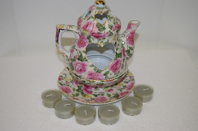 +MBA #11-028B  Rose 3 Piece Tea Pot Candle Holder