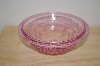 "**MBA #13-014   ""Small Pink Floral & Hobnail Embossed Serving Bowl"