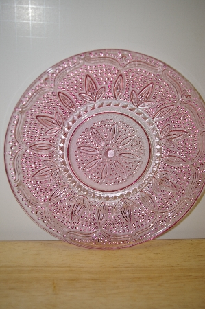 "**MBA #13-037A  ""Set Of 2 Pink Glass Floral & Hobnail Embossed Desert Plates"