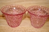 "**MBA #13-154     ""Set Of 2 Pink Glass Floral & Hobnail Embossed Votive Candle Holders"
