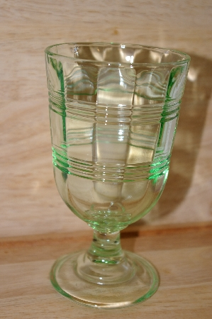 "**MBA #13-072A     ""Martha Stewart Set Of 5 Antique Green Glass Goblets"""