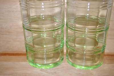 "**MBA #13-193   ""Martha Stewart Set Of 5  Antique Green Tall Water Glasses"