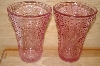 "**MBA #13-046A    ""Set Of 2 Pink Glass Floral & Hobnail Embosed Water Glasses"