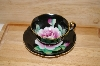 "**MBA #13-163   ""Black Tea Cup & Saucer Hand Painted"