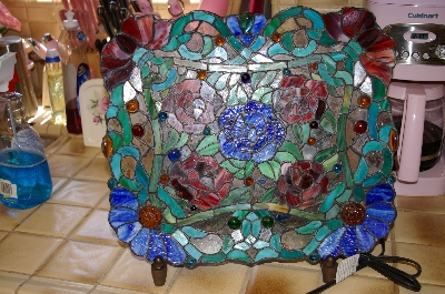 "**MBA #9-032   ""Unique Stained Glass Rose Platter Accent Lamp"