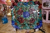 "+MBA #9-032   ""2003  Unique Stained Glass Rose Platter Accent Lamp"