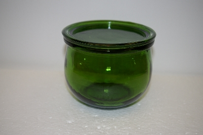 "** MBA #13-143B    ""Set Of 2 Small Bottle Green Glass Topped Canisters"