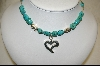 ** Blue Turqioise Nuggett & Heart Charm Necklace