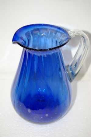 **MBA #11-035   Beautiful Blue Art Glass Hand Made Water Pitcher