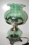 +MBA #14-156   2003Hand Painted Crackle Finish Green Victorian Desk Lamp