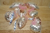 **Set Of 6 Pink Hand Blown Glass German Ornaments
