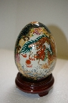"""SOLD"" Large Porcelain Asian Hand Painted Egg With Wooden Stand"