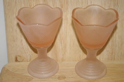 "**MBA #14-046   ""Set Of 2 Frosted Pink Glass Candle Holders"
