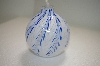 "+MBA #14-183  ""2002 Blue & White Hand Blown Glass Oil Lamp"""