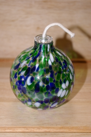 "MBA #14-258   ""Hand Blown Blue,Green & White Glass Oil Lamp"""
