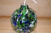 "+MBA #14-258   ""2002 Hand Blown Blue,Green & White Glass Oil Lamp"""