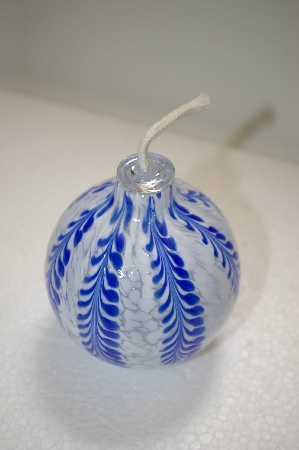 **MBA #14-183   Beautiful Hand Blown Glass Witch Ball Oil Lamp