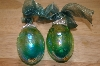 Set Of 2 Iredescent Blue/Green Hand Blown Egg Ornaments