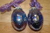Set Of 2 Iredescent Hand Blown Glass Egg Ornaments
