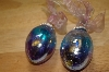 ** MBA #15-029  Set Of 2 Hand Blown Crackle Glass Egg Ornaments