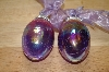 **MBA # 15-027  Set Of 2 Hand Blown Crackle Glass Egg Ornaments