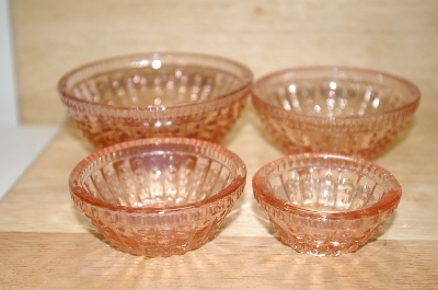 "**MBA #15-056    ""Set Of 4 Pink Glass Hobnail Embossed Spice Bowls"